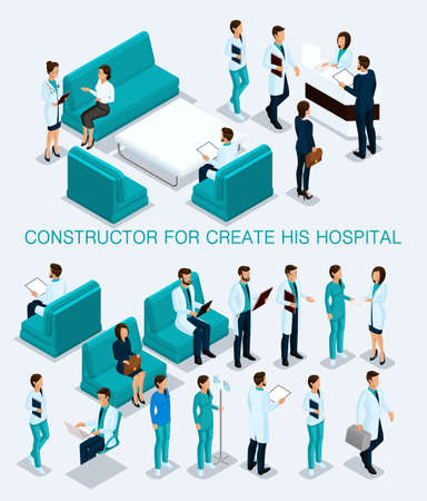 Business people isometric set to create his illustrations, hospitals, doctors, patients, reception, Nurse 3D medical staff isolated on a light background.
