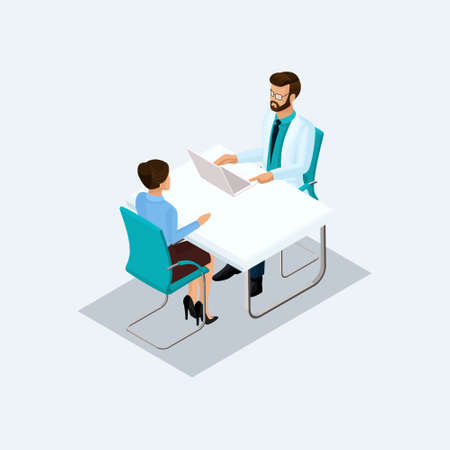 Isometric doctor takes the patient's surgeon, talking at a table isolated on a light background. Vekton illustration.