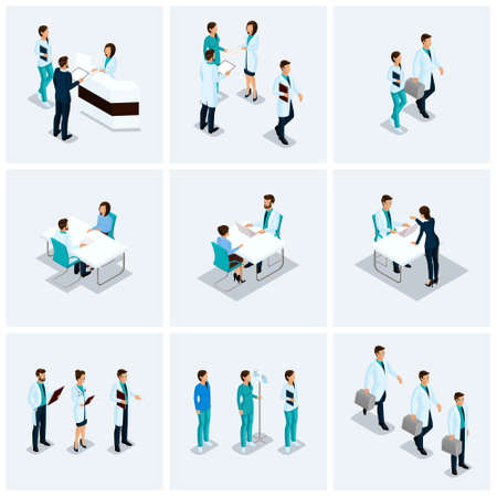 Set Isometric health care providers, surgeons, nurse, doctor kits Hospital 3D concept isolated on a light background.