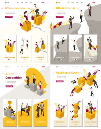 Set Template Landing page, app Isometric share business, high competition, Business solution, Business risk
