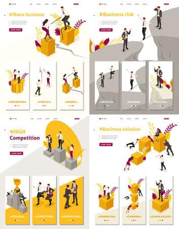 Set Template Landing Page, App isometrisches Aktiengeschäft, hoher Wettbewerb, Geschäftslösung, Geschäftsrisiko Vektorgrafik