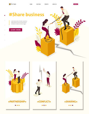 Isometric Website Template Landing page conflict of partners and disagreements in business