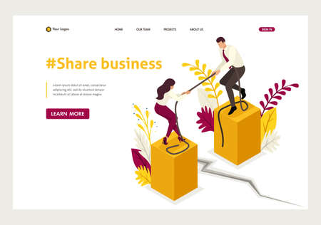 Isometric conflict of partners and disagreements in business. Website Template Landing page