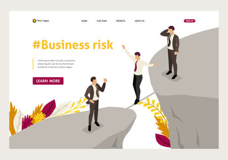 Isometric fear and overcoming risks in business. Website Template Landing page