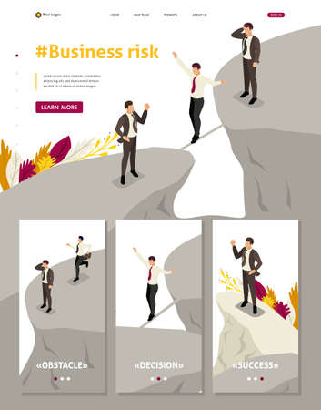 Isometric Website Template Landing page fear and overcoming risks in business Stock Illustratie