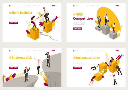 Set Template design, Isometric concept share business, high competition, Business solution, Business risk