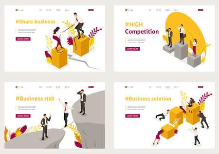 Set Template Design, isometrisches Konzept Aktiengeschäft, hoher Wettbewerb, Geschäftslösung, Geschäftsrisiko