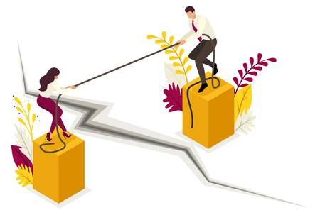 Isometric conflict of partners and disagreements in business. Concept for web design