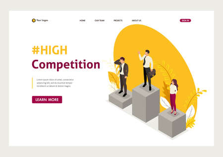 Isometric businessmen compete for the championship, leadership. Website Template Landing page