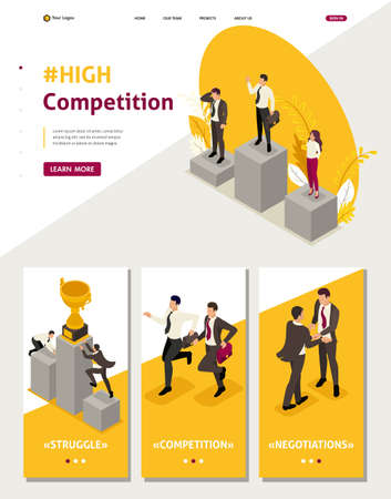 Isometric Website Template Landing page businessmen compete for the championship, leadership