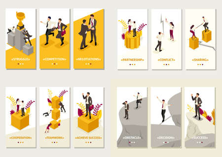 Set Isometric Template app 3D design concept share business, high competition, Business solution, Business risk.