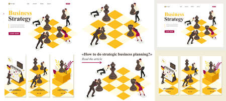 Set Template article, Landing page, app design, Isometric concept strategic business planning, teamwork. Stock Illustratie