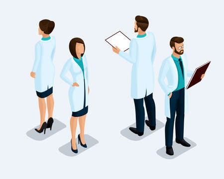 Trendy isometric people. Medical staff, hospital, doctor, nurse, surgeon. People front view rear view isolated on a light background. set Illusztráció