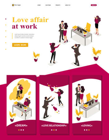 Isometric Website Template Landing page love affair at work, colleagues shocked love colleagues. Ilustracje wektorowe