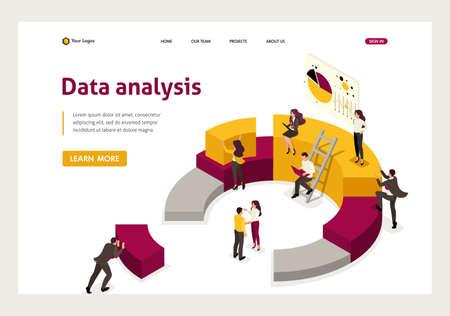 Collecte et analyse isométriques des données, les gens collectent un graphique. Page de destination du modèle de site Web