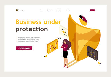 Isometric how to ensure full safety of your business, lawyer girl. Website Template Landing page. Reklamní fotografie - 119541388