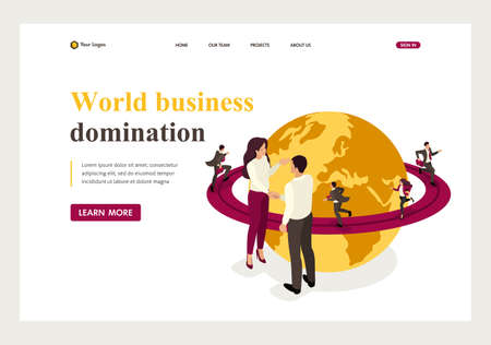 Isometric world business domination, big business agreement. Website Template Landing page.