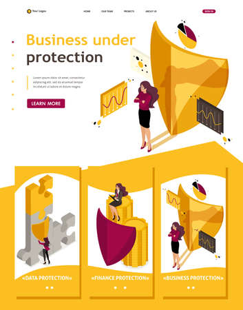 Isometric Website Template Landing page how to ensure full safety of your business, lawyer girl.