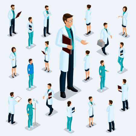 Trendy isometric people. Medical staff, hospital, doctor, nurse, surgeon. Large Director, People for the front view of the visas, standing position isolated.