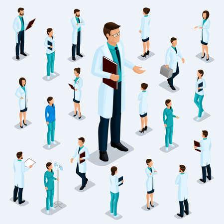 Trendige isometrische Leute. Medizinisches Personal, Krankenhaus, Arzt, Krankenschwester, Chirurg. Großer Direktor, Leute für die Vorderansicht der Visa, stehende Position isoliert. Vektorgrafik