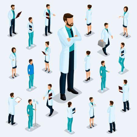 Gente isométrica de moda. Personal médico, hospital, médico, enfermero, cirujano. Personas para la vista frontal de las visas, posición de pie aislada sobre un fondo claro