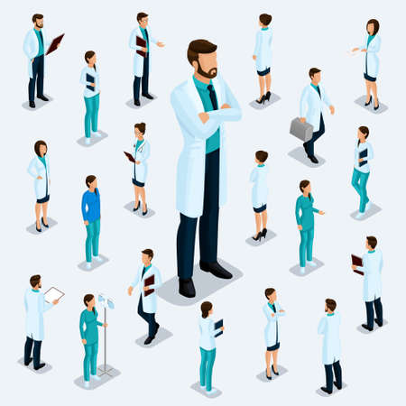 Trendy isometric people. Medical staff, hospital, doctor, nurse, surgeon. People for the front view of the visas, standing position isolated on a light background