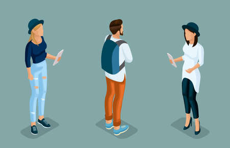 Trendy isometric people. Medical staff, hospital, doctor, nurse, surgeon. Large Director, People for the front view of the visas, standing position isolated on a light background. Set