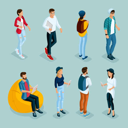 Trendy isometric young creative people, 1 set in stylish clothes with modern hairstyles. Freelancers students, hipsters isolated. Vector illustration.