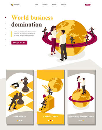 Isometric Website Template Landing page world business domination, big business agreement.