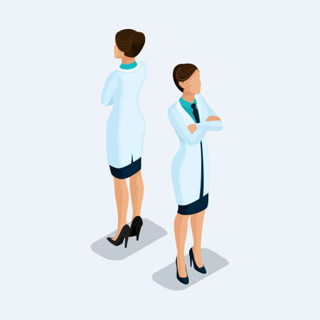 Trendy isometric people. Medical practice and research, the hospital, the woman doctor, a surgeon. People front view rear view, standing position isolated on a light background. Set 2.