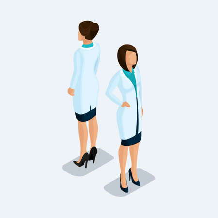 Trendy isometric people. Medical practice and research, the hospital, the woman doctor, a surgeon. People front view rear view, standing position isolated on a light background. Set 1.