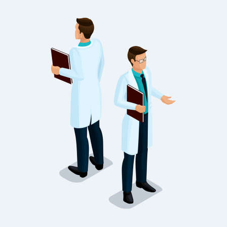 Trendy isometric people. Medical practice, hospital, surgeon man with a notebook in his hand. Man front view rear view, standing position isolated on a light background. Illusztráció