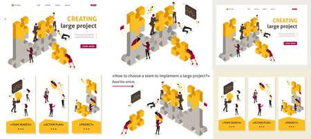 Stel sjabloonartikel, bestemmingspagina, app-ontwerp, isometrisch team samen om een project te creëren, zakenlieden. Vector Illustratie