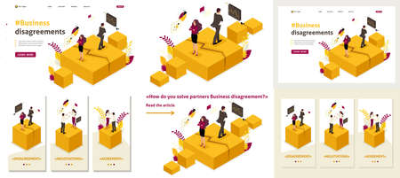 Set Template article, Landing page, app design, Isometric business partner disagreements, disputes and conflicts.