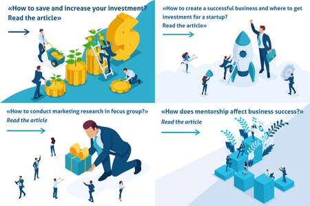 Set Template design article banner concept start up, mentorship, marketing research, reliable investment. Illustration