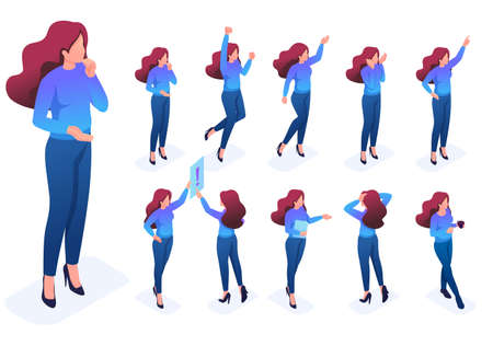 Isometric set of poses and gestures of the character, woman. To create vector illustrations, isolated background.