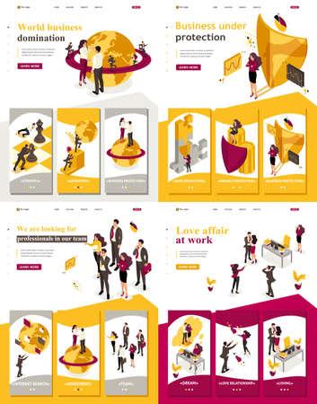 Landingpage einstellen, isometrische Weltherrschaft der App, Geschäft unter Schutz, Liebesaffäre bei der Arbeit, Suche nach Mitarbeitern. Vektorgrafik