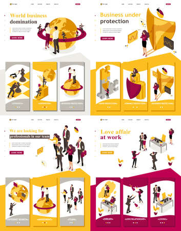 Set Landing page, app Isometric world domination, business under protection, love affair at work, looking for employees. Ilustracje wektorowe