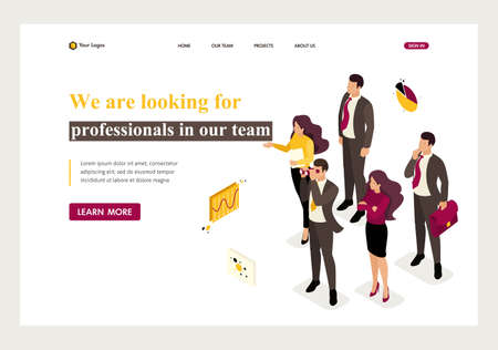 Isometric company employees are looking for professionals in the team. Website Template Landing page. Stock Vector - 124274812