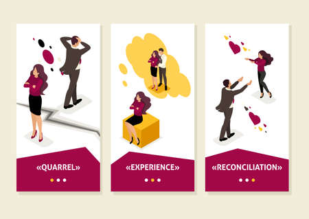 Isometric Template app family disagreements and quarrels, conflict, smartphone apps. Illustration