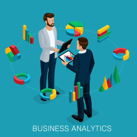 Isometric Business Analyst, male businessman, concept planning. Young businessman stylish hairstyle business clothes, work on modern systems, tablet wi-fi.