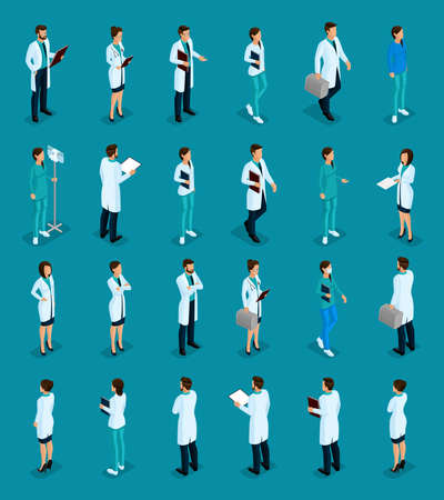 Set Trendy isometric people. Medical staff, hospital, doctor, nurse, surgeon. Physicians front view rear view, standing position isolated on bright background. Vector illustration. Vector Illustration