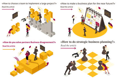 Set Template design article banner concept Business strategy, planning, disagreements, creating projects. Vettoriali