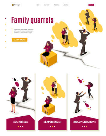 Isometric Website Template Landing page family disagreements and quarrels, conflict.