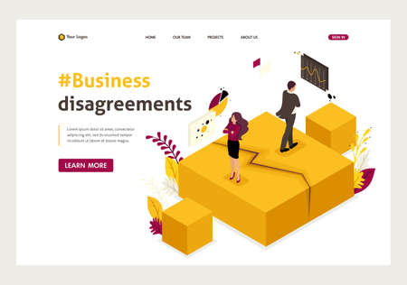 Isometric business partner disagreements, disputes and conflicts. Website Template Landing page.