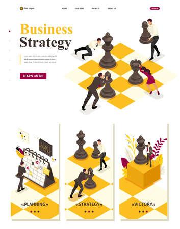 Plantilla de sitio web isométrico Concepto de página de destino planificación empresarial estratégica, trabajo en equipo. Ilustración de vector