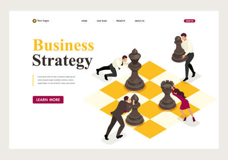 Isometric concept strategic business planning, teamwork. Website Template Landing page. Vectores
