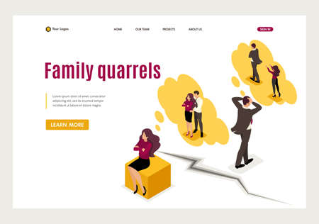 Isometric family disagreements and quarrels, conflict. Website Template Landing page. Vettoriali