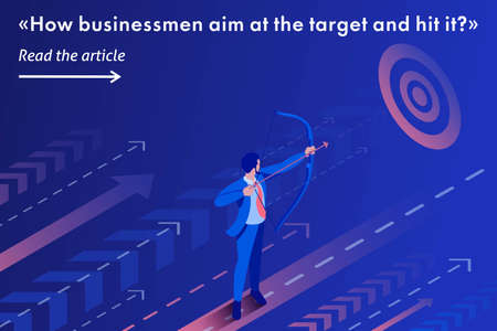 Isometric Template banner article Businessman aiming at the target, Business concept. Stock Illustratie