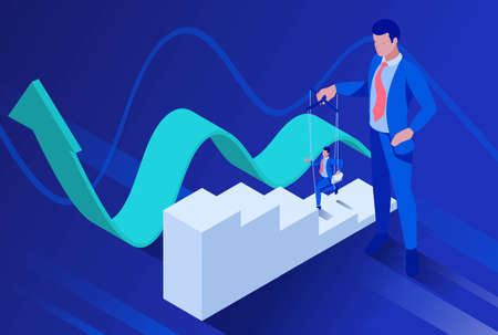 Isometric The businessmen is under control like a puppet. Concept for web design.